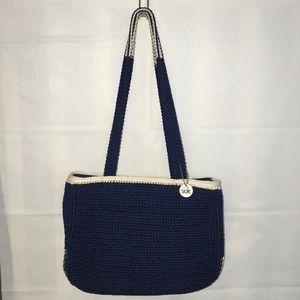 The Sak Navy and White Crochet Shoulder Bag